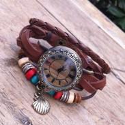 Reloj de pulsera de cuero original de cuerda envuelta