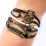 Eiffel Tower Rudder Arrow Love Bracelets