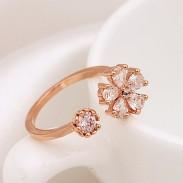 Fresco Oro Chapado Diamante de imitación Margarita Apertura anillo