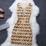 Noble bordado con lentejuelas una línea de vestido de fiesta de la señora