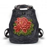 Retro Original 3D Bolso de hombro multifunción de hojas de flores Mochila escolar grande hecha a mano