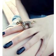 Único Vendimia 3D Leopard Animal anillo