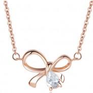 Collar de plata esterlina arco colgante de circón colgante