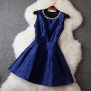 Vestido de fiesta / vestido de cuello con cuentas elegante retro