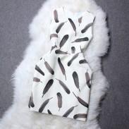 Cuello redondo con estampado de plumas único vestido de calabaza