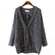 Abrigo suelto de mohair con lentejuelas y suéter