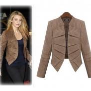 Abrigo de traje de chaqueta de gamuza de mangas largas color puro