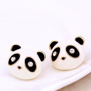 Dulce Goteo Diamante Ojos Linda animales Pequeña Panda Aretes
