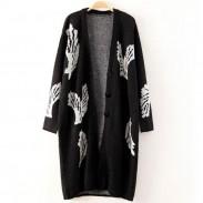 Moda grandes alas negro largo abrigo Cardigan
