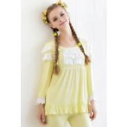 Pijamas de manga larga de encaje de algodón de fibra de bambú bordado
