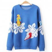 Abrigo estilo suéter tipo cardigan de aves bordadas