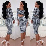 Faldas de vestidos de dos piezas de pata de gallo de moda