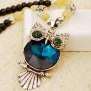 Cadena / collar moldeados retro del búho cristalino