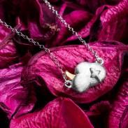 Collar de plata luna personalizado hecho a mano nube