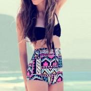 Traje de baño de bikini de cintura alta colorido traje de baño