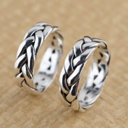 Vendimia Libra esterlina Plata Mano Trenzado anillo