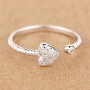 Corazón Masa Giro Patrón Diamante de imitación Apertura anillo