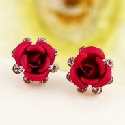 Fresco Rosa Flor Diamante de imitación Elegante dama pernos prisioneros del pendiente