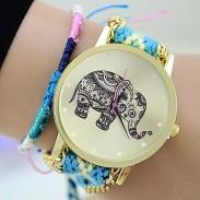 Hueco Elefante De lana Trenzado Pulsera Reloj