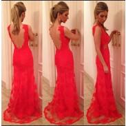 Vestido de fiesta sexy de encaje rojo cabestro atractivo