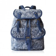 Elegante Retro Fresco Azul y blanco Estilo chino mochila de lona Bolsa de viaje