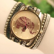 Hollow Elephant Pattern Diamond Rivet correa de cuero reloj pulsera