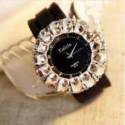 Fashion Rhinestone Trim Rubber Strap Quartz Watches