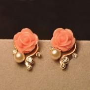 Moda Diamante de imitación Bohemia Rosa Aretes