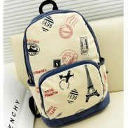 Eiffel Tower & Airplane Print Canvas Backpack