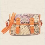 Bolsa Vintage Columbus Mapa de impresión de cuero del hombro del bolso del mensajero