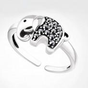 Vendimia Afortunado Elefante Diamante de imitación Animal anillo