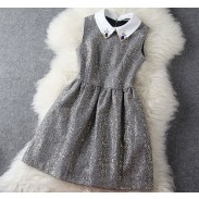 Fashion Woolen Beaded Gold Sleeveless Dress &Party Dress