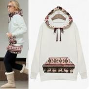 Abrigo de invierno de estilo popular y suéter de ciervo con capucha de terciopelo grueso