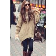 Unique Brown Irregular Hoodie Sweater &Cardigan