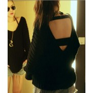 Sexy Back V-neck Hollow Out Halter Loose Sweater
