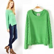 New Vintage Fresh Green Demi Twist Irregular Sweater