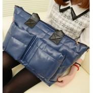 Moda de cuero azul marino de Down bolso