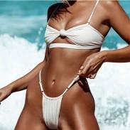 Sujetador sexy de color puro Conjunto traje de baño Knotted Sling Bikinis de verano