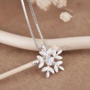 Collar fresco de las mujeres de la joyería del regalo del amigo del Zircon de la plata del copo de nieve