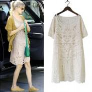 Vestido de manga corta de encaje bordado de verano
