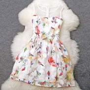 Nuevo vestido de princesa de temperamento de aves bordado único