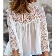 Blusa de gasa de encaje blanco de moda ahueca hacia fuera
