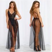 Sexy vestido de malla de una pieza de encaje camisón largo lencería íntima