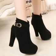 Moda negro hebilla redonda mujer Martin Boots
