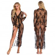 Sexy bata larga para mujer talla grande encaje hueco camisón de manga larga transparente camisón lencería