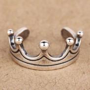 Retro Moda corona Plata Apertura anillo