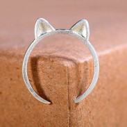 Fresco Gato Orejas Plata Joyería Apertura anillo