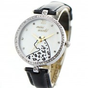 Cute Cheetah Pattern Full Rhinestone Reloj de cuarzo