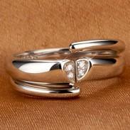 Romántico Platino Chapado Circón Par anillo