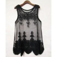 Camisa transparente de la blusa del ganchillo del bordado del cordón lleno de la vendimia
